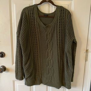 EXPRESS Army Green oversized cable knit sweater